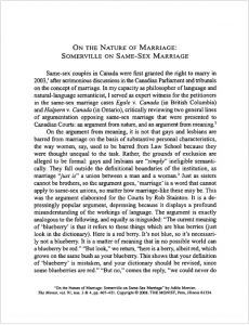 On the Nature of Marriage: Somerville on Same-Sex Marriage