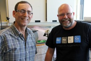 Peter Davies (left) is working with Craig Marshall from the University of Otago, New Zealand to improve the production of natural antifreeze proteins.