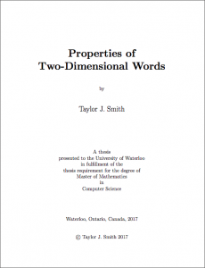 Properties Of Two Dimensional Words