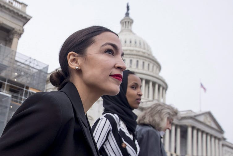 Rep. Alexandria Ocasio-Cortez is the main champion of the Green New Deal proposal. (AP Photo/Andrew Harnik)